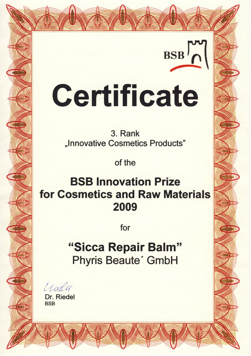 BSB Innovation Prize  for Cosmetics and Raw Material 2009